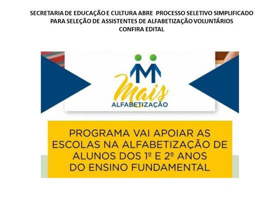 Foto: Processo Seletivo Simplificado para Assistentes de Alfabetização das turmas do primeiro e segundo ano do Ensino Fundamental - Ciclo I - nas escolas da Rede Municipal de Ensino.