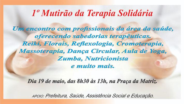 1º Mutirão da Terapia Solidária acontecerá no próximo dia 19 de maio