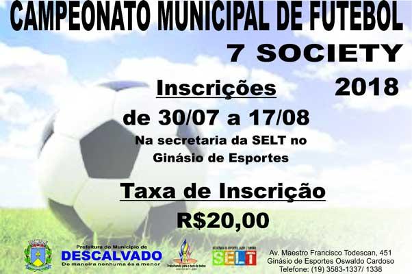 Inscrições para o 'Campeonato Municipal de Futebol 7 Society' já estão abertas