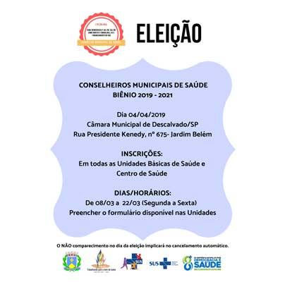 Eleição - Conselheiros Municipais de Saúde (Biênio 2019 - 2021)