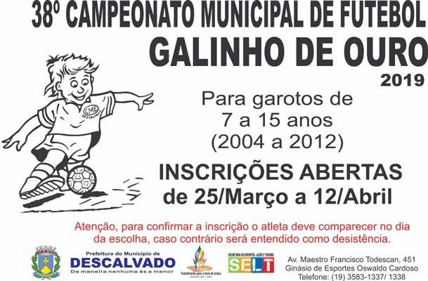 Abertas as inscrições para a 38ª Edição do Campeonato Municipal 'Galinho de Ouro'