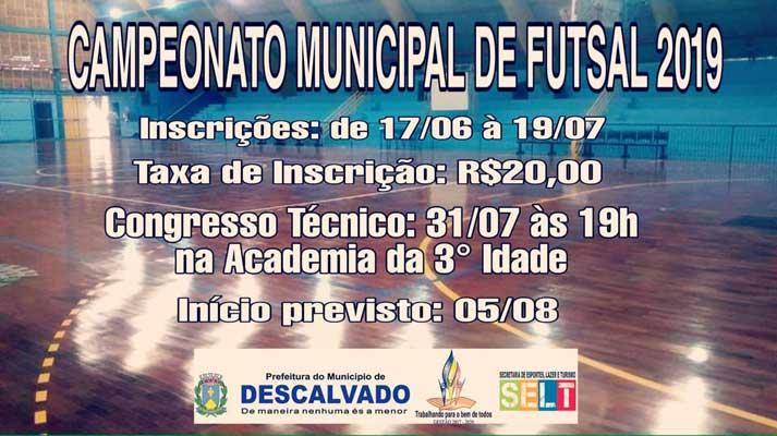 Campeonato Municipal de Futsal está com inscrições abertas