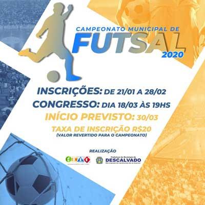 Abertas as inscrições para o Campeonato Municipal de Futsal 2020