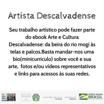 Seu Trabalho Artístico pode fazer parte do ebook Arte e Cultura Descalvadense