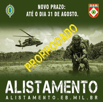 Foto: Alistamento Militar - Prorrogado até o dia 31 de agosto de 2021