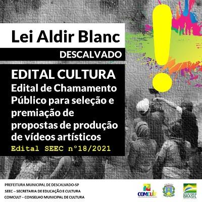 Foto: Prefeitura publica edital para selecionar e premiar vídeos artísticos e culturais com recursos da Lei Aldir Blanc.